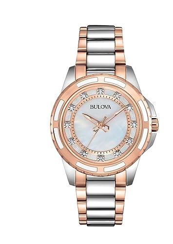 d8d2a64ba6d0 Bulova 98P134 - Reloj analógico de cuarzo para mujeres
