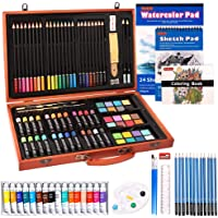 115 Piece Deluxe Art Set, Shuttle Art Art Supplies in Wooden Case, Painting Drawing Art Kit with Acrylic Paint Pencils…