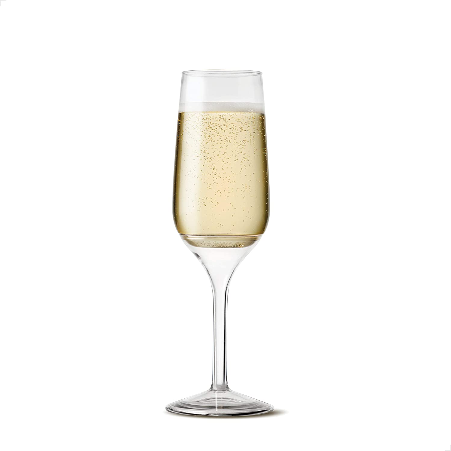 TOSSWARE 6oz Stemmed Flute SET OF 12, Recyclable, Unbreakable & Crystal Clear Plastic Champagne Glasses