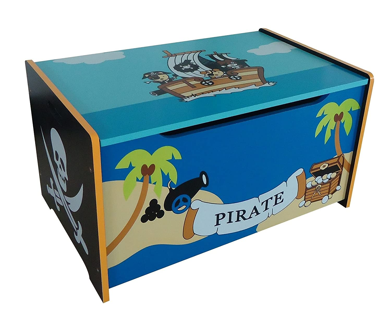 pirate themed kids childrens wooden toy box bench storage box