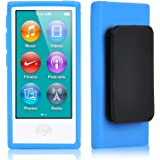 TRIXES Funda de gel con clip de TPU negra para Apple iPod Nano de 7ª generación