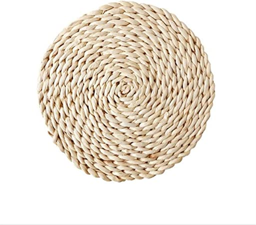 Round Natural Hand Woven Corn Straw Placemat Braided Coasters Table Mat Pads 14