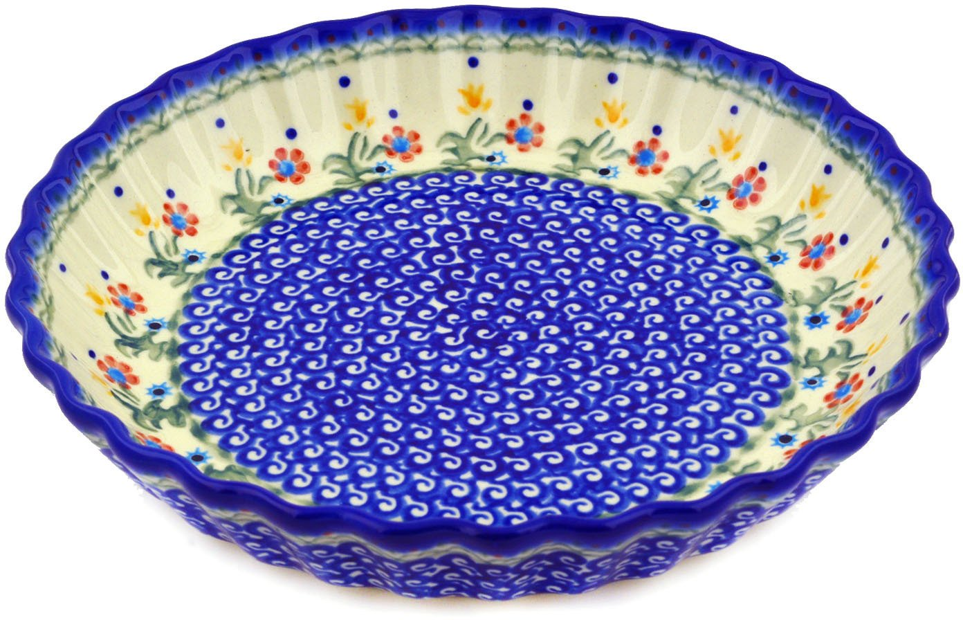 Polish Pottery Fluted Pie Dish 10-inch Spring Flowers