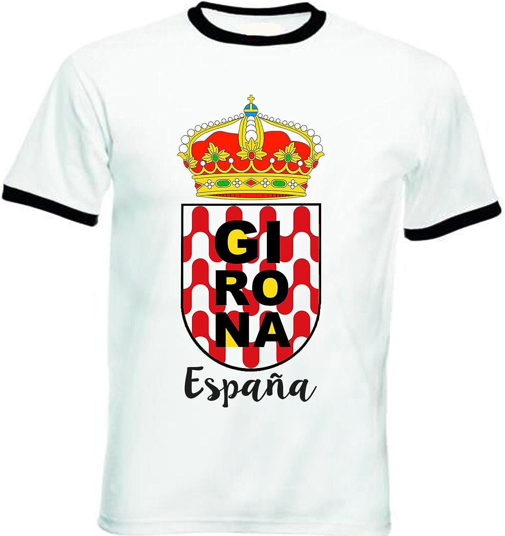 teesquare1st GIRONA Spain Tshirt de Hombre con Bordes Negros T-Shirt: Amazon.es: Ropa y accesorios