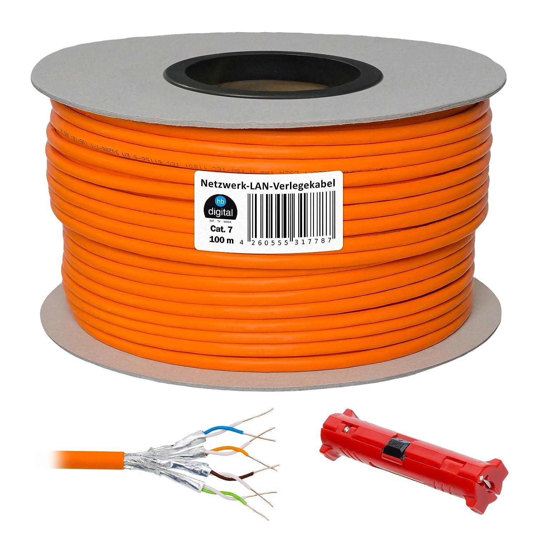 Cat 7 HB Digital Basic Cable de red LAN cat5sh – Cabel Cobre Profi S/FTP PIMF libre de halógenos de RoHS compliant Cat. 7 100m + Abisolierer naranja