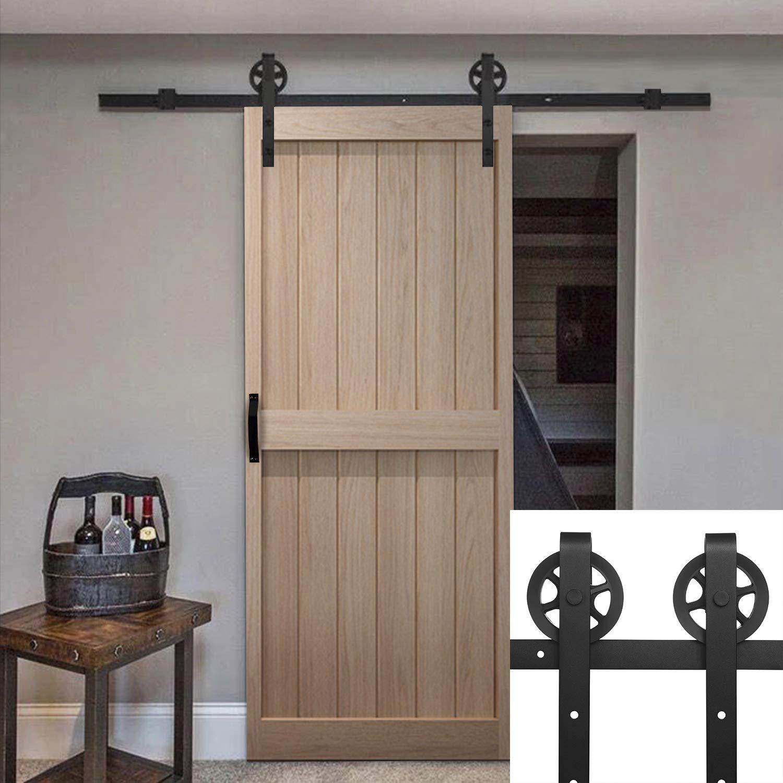 6.6 Ft Sliding Barn Rail Track Wood Door Hardware, Door Handle & Door Lock,Antique Style