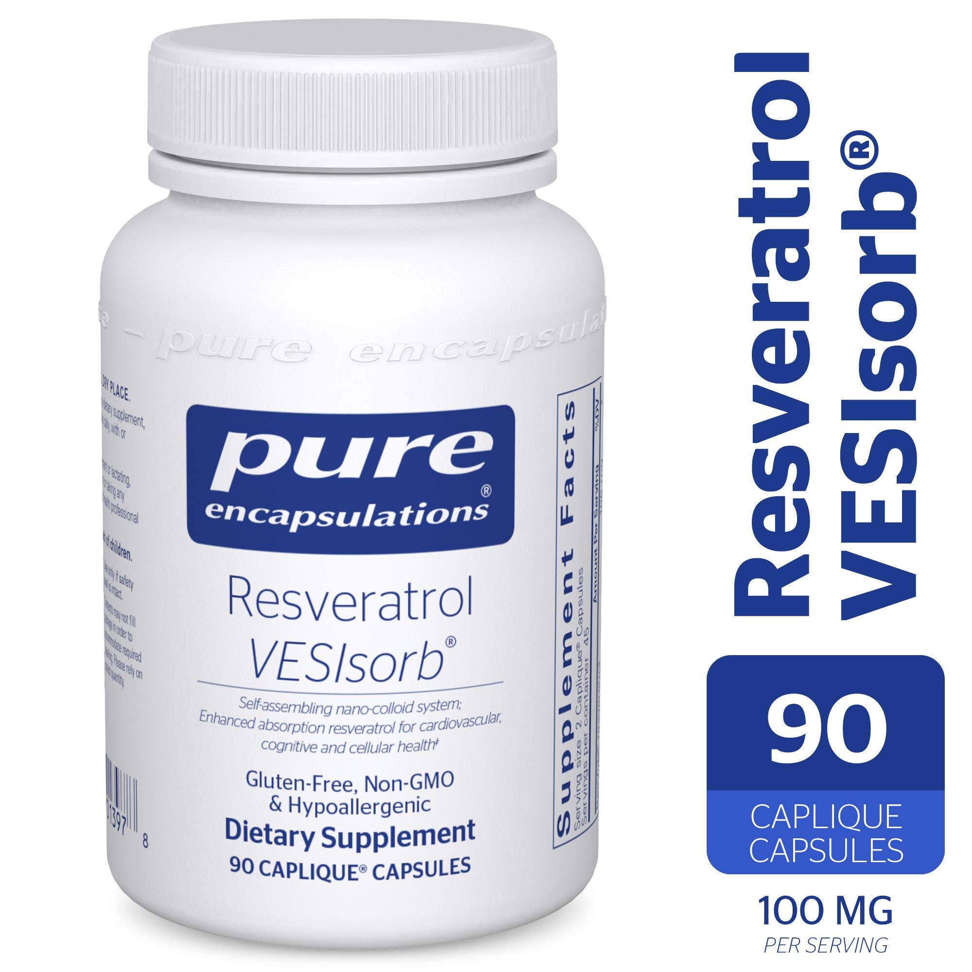 Pure Encapsulations - Resveratrol VESIsorb - Hypoallergenic Support for Cellular, Cardiovascular, and Neurocognitive Health* - 90 Caplique Capsules by Pure Encapsulations