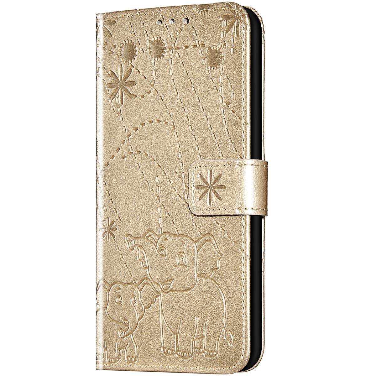 Case for iPhone XR Flip Case Premium Soft PU Leather Embossed with Folding Stand, Card Slots, Wristlet and Magnetic Closure Protective Cover for iPhone XR,Gold by ikasus