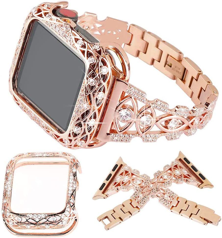 KoudHug Bling Bands and Case Compatible with Apple Watch 38mm 40mm 42mm 44mm iWatch SE Series 6 5 4 3 2 1, Jewelry Rhinestone Bracelet Replacement Strap for Women Girls (Rose Gold, 42/44)