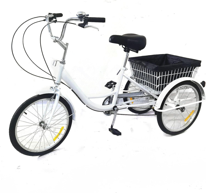 Erwachsene 20 3-Rad-Dreirad Geschwindigkeit Kreuzfahrt Tricycle mit Korb f/ür Erwachsene Senioren Einkaufen Trike