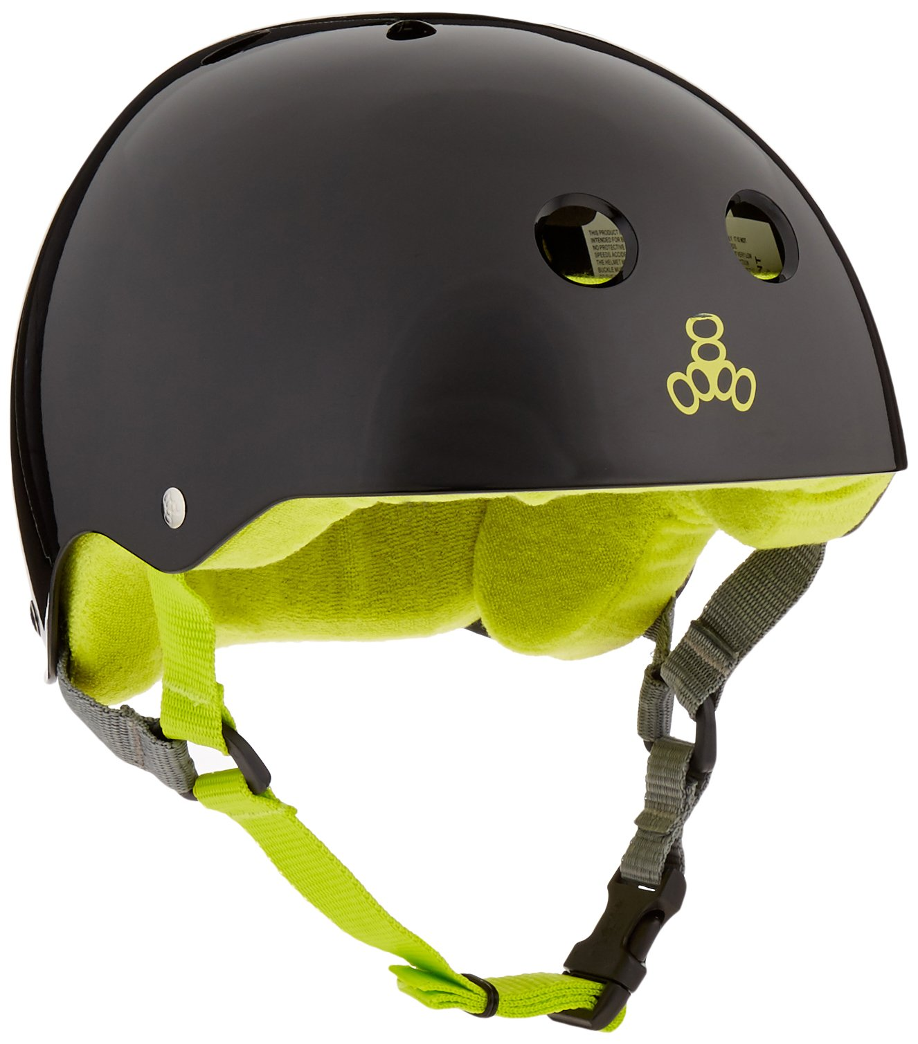 Triple Eight Helmet with Sweatsaver Liner, Black Glossy With Green, Small