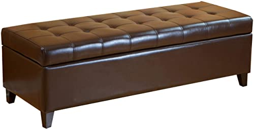 Christopher Knight Home CKH Tufted Bonded Leather Ottoman Storage Bench