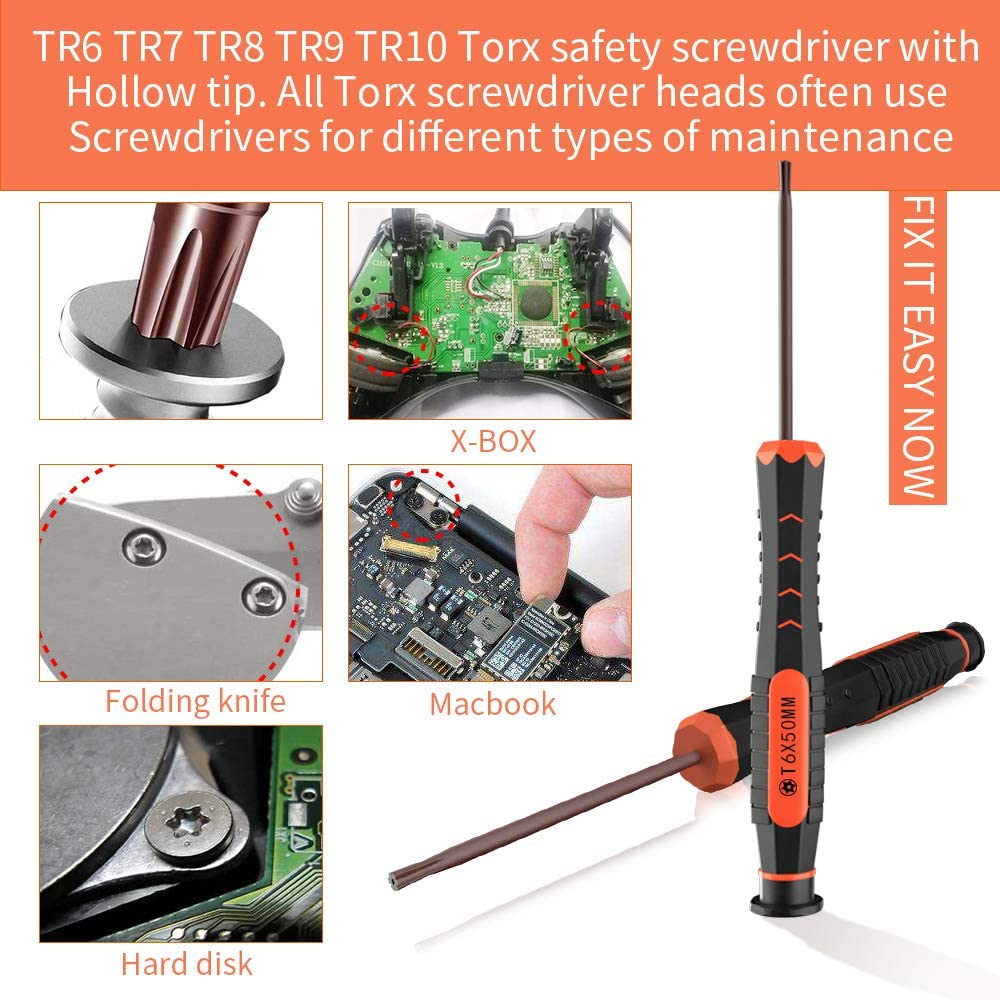 XBRdepot Torx Screwdrivers Set T2 T3 T4 T5 T6 T7 T8 T9 T10 Security Torx Bits Star DIY Repair Kit ESD Tweezers for Xbox PS4 Macbook Laptop Computer Doorbell Folding Knife HDD - Video Game Accessory Kits -