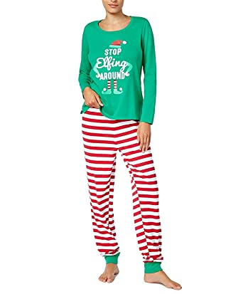 Family PJs Womens Elf Christmas Holiday Two-Piece Pajamas Green S at ... e28d067af