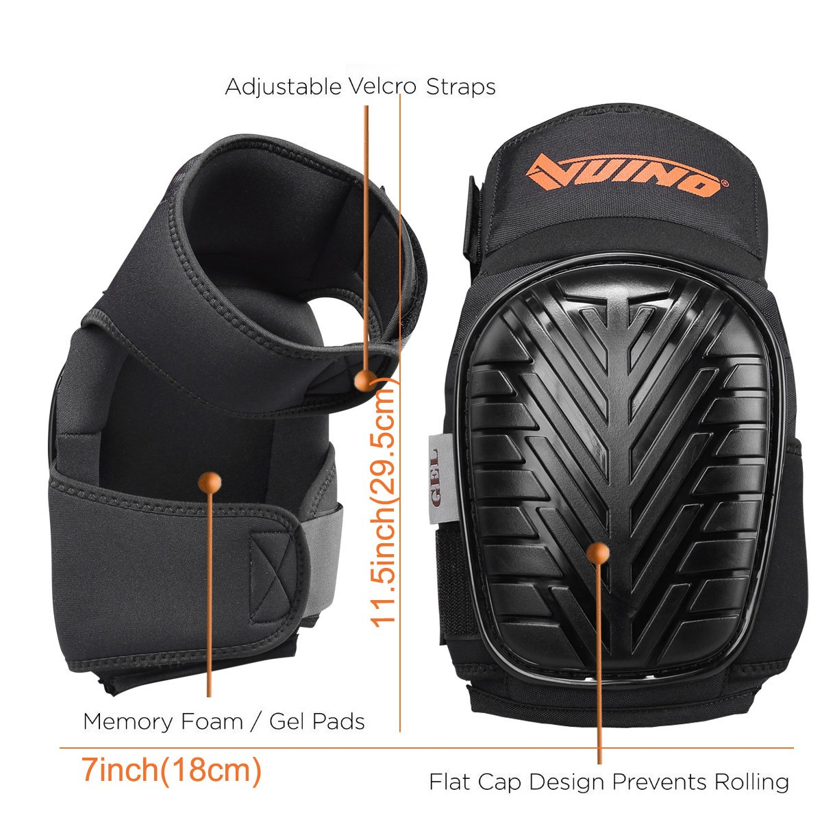 VUINO Professional Heavy Duty EVA Foam Padding Knee Pads with Comfortable Gel Cushion and Adjustable Straps for Working, Gardning, Cleaning, Flooring, Tiling and Construction (Black) by Ningbo Xinweinuo Fanghuyongpin Co.,Ltd (Image #3)