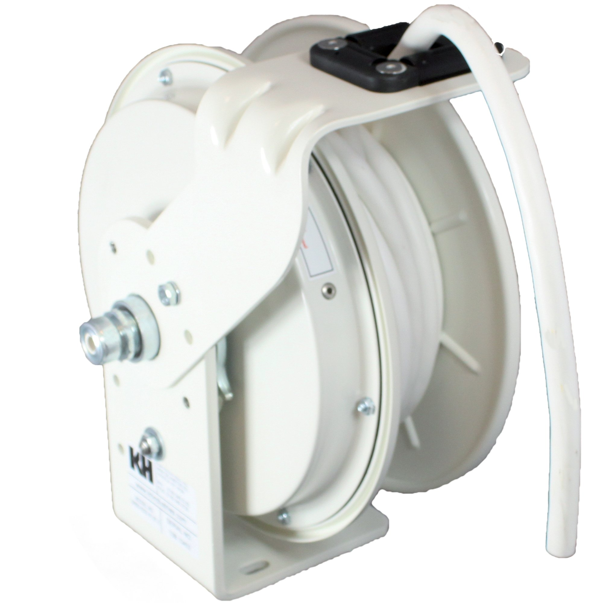 KH Industries RTB Series ReelTuff Power Cord Reel, 12/3 SJOW White Cable, 20 Amp, 50' Length, White Powder Coat Finish
