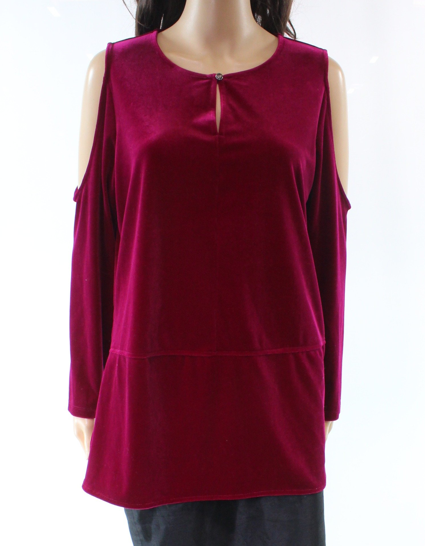 Lauren Ralph Lauren Womens Velvet Cold Shoulder Blouse Purple XL by Lauren by Ralph Lauren