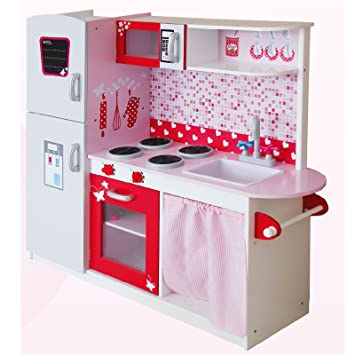 Leomark Large Deluxe Pink Toy Wooden Kitchen With Fridge Childrens Role Play Pretend Set For Cooking