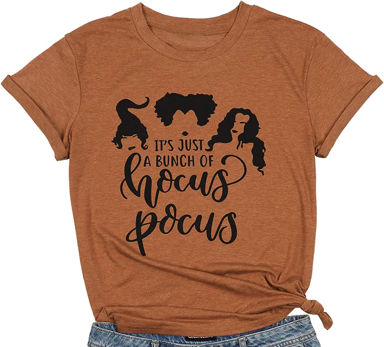 JEALLY Its Just A Bunch of Hocus Pocus T-Shirt Funny Graphic Tee Shirt for Women Halloween T Shirts