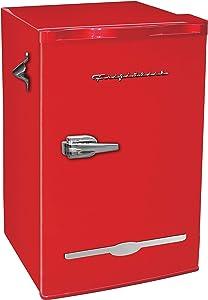 Curtis Retro Bar Fridge Refrigerator with Side Bottle Opener, 3.2 cu. ft, Red (Renewed)