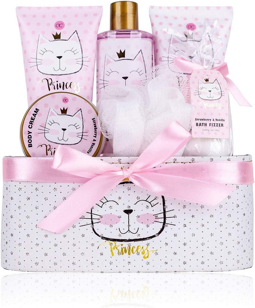 Accentra Princess Kitty - Set de regalo para niña, con dulce fresa y aroma de vainilla, 7 piezas