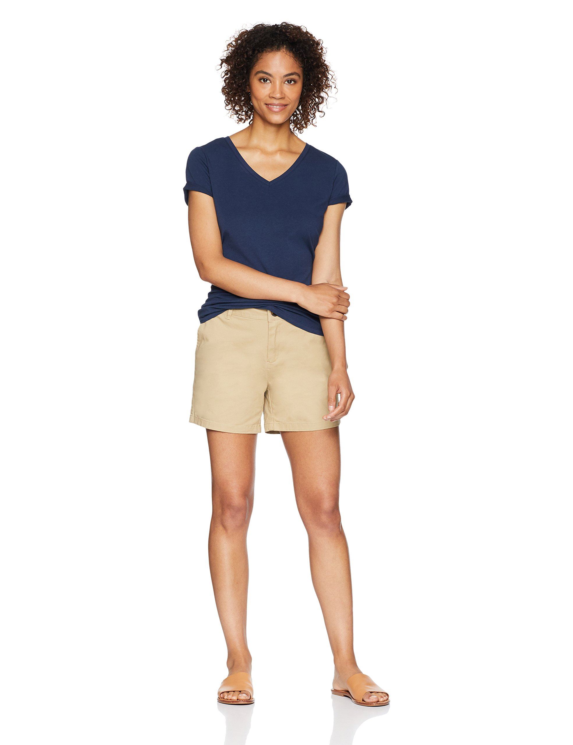 Amazon Essentials Women's 5'' Inseam Solid Chino Short Shorts, Khaki, 12 by Amazon Essentials (Image #2)