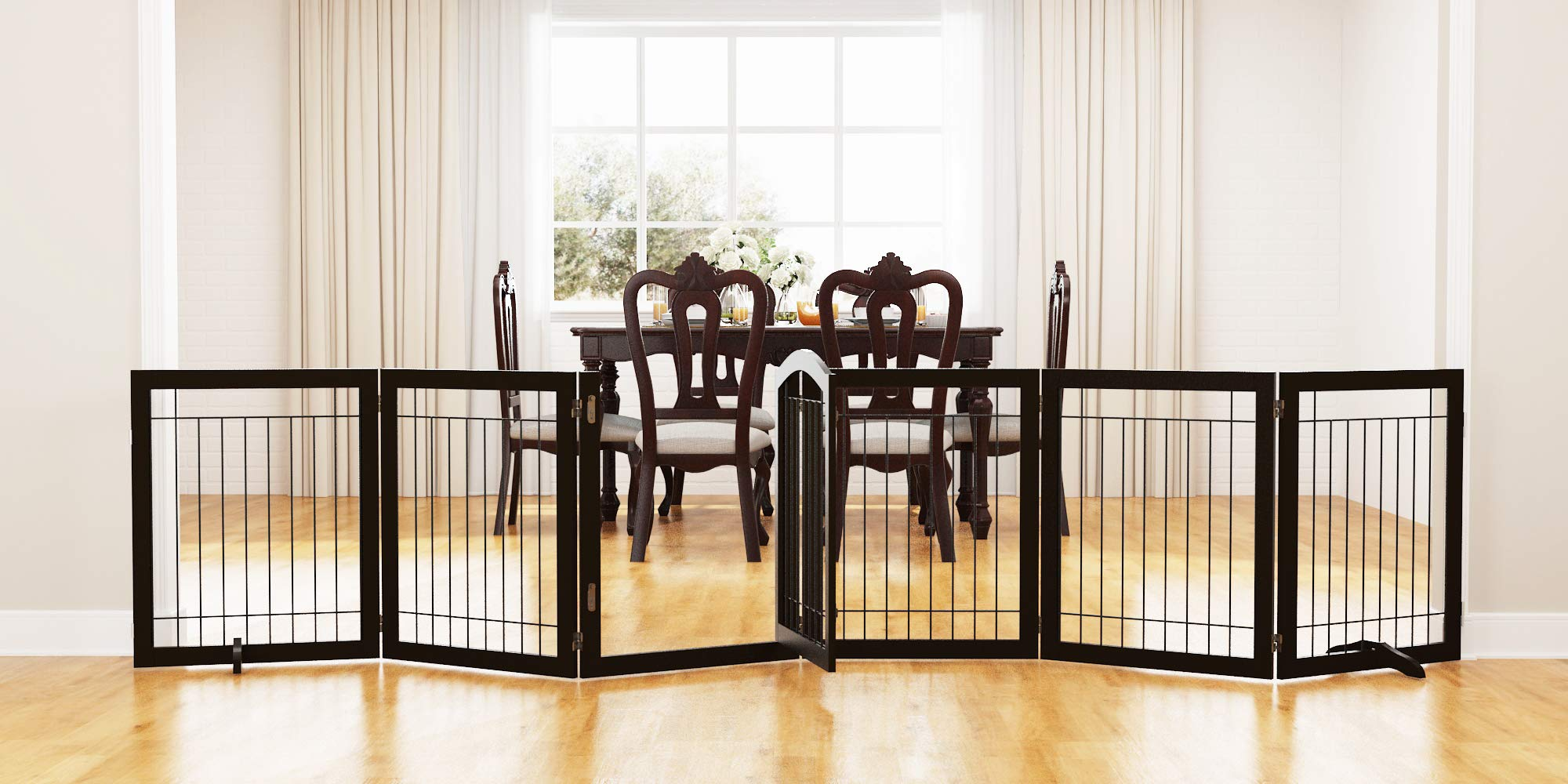 PAWLAND 144-inch Extra Wide 30-inches Tall Dog gate with Door Walk Through, Freestanding Wire Pet Gate for The House, Doorway, Stairs, Pet Puppy Safety Fence, Support Feet Included, Espresso,6 Panels by PAWLAND