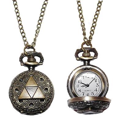 d25bf6be5c295 Legend of Zelda TRIFORCE Logo Bronze Finish Pendant Pocket Watch