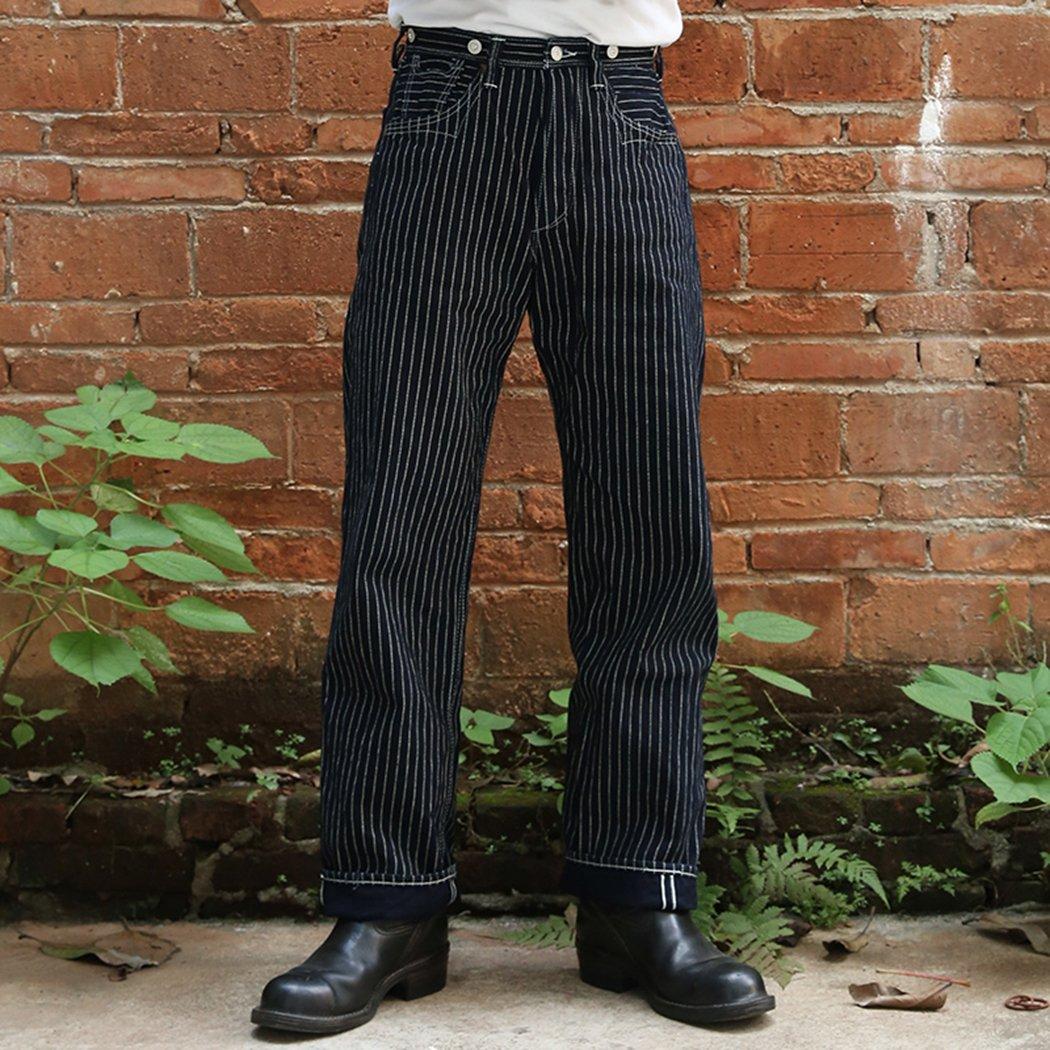 Men's Vintage Workwear – 1920s, 1930s, 1940s, 1950s Bronson 1879 One Piece Fly Mens Red Ear Wabash Stripe Denim Jeans (32) $159.99 AT vintagedancer.com