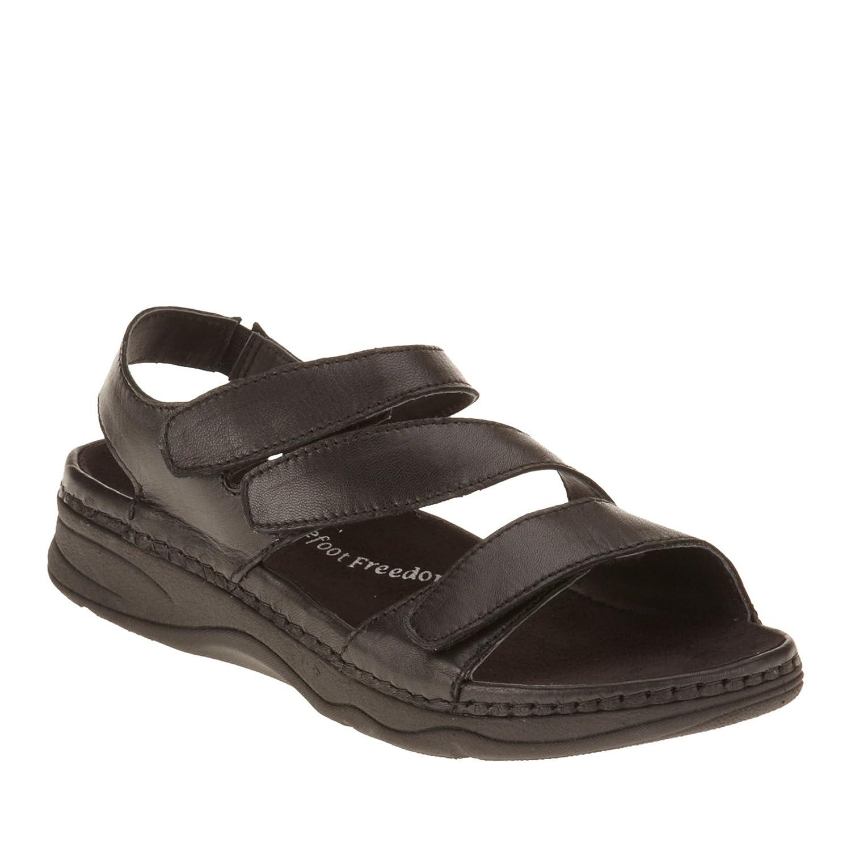Drew Angela Women's Sandal B00SWI1L50 6 WW/2E|Black Smooth Leather