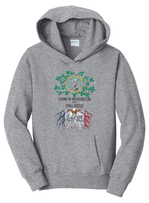 Tenacitee Girls Youth Living in Washington with Iowa Roots Hooded Sweatshirt Heather Grey Small