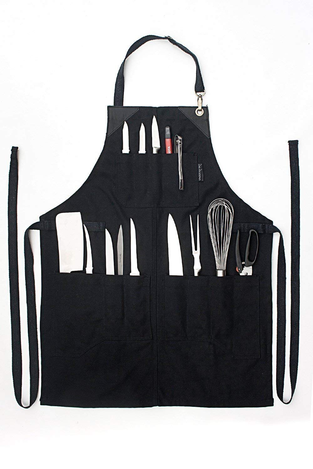 Knife-Roll Ebony Black Apron – Heavy-Duty Canvas, Leather Reinforcement – Adjustable for Men and Women – Pro Chef, Barbecue, Butcher, Bartender, Woodworker, Tool Aprons