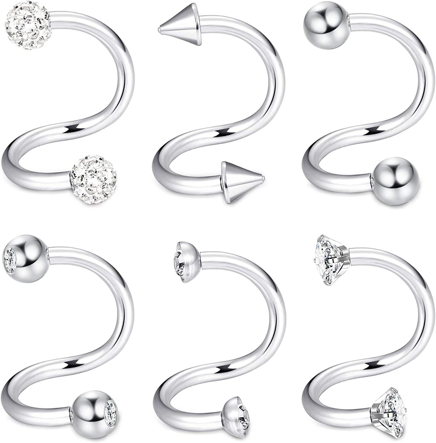 ORAZIO 6PCS 16G Spiral Barbell Cartilage Earrings Twist Ear Lobe Helix Tragus Nose Piercing Body Jewelry 8mm 10mm