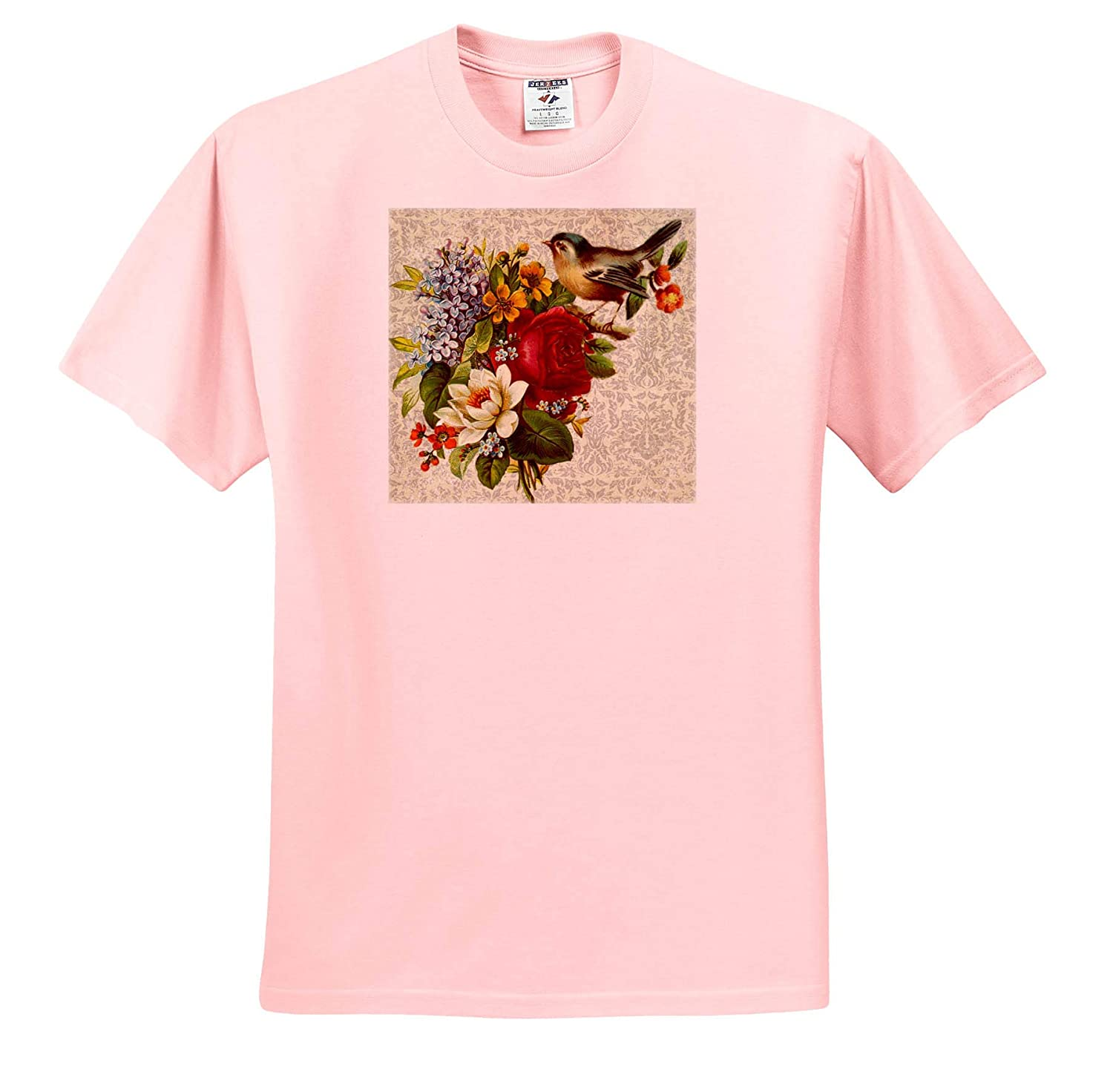 3dRose Lens Art by Florene Image of Vintage Lilac Flowers Red Rose and Bird On Damask Flower Standouts T-Shirts