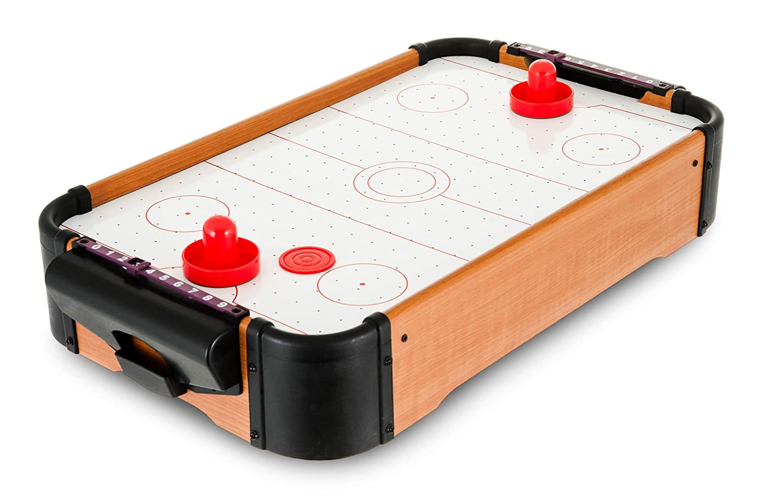 Fineway. Air Hockey Table top Playing Arcade Game Indoor Outdoor Family Fun Time – Ideal for Kids Adults – Battery Operated Blower – Best Christmas Birthday Gift
