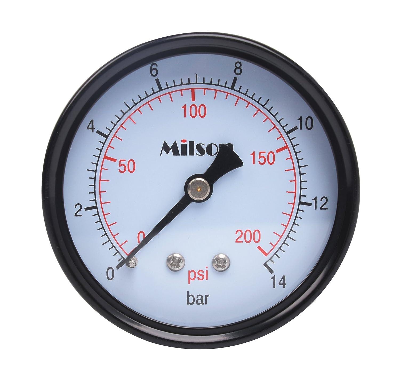 Milson Pressure Gauge 2.5 Black Steel Case Back Mount 1 4NPT 0 200 Psi Bar Accuracy 2.0 Brass Internal Multiple Function