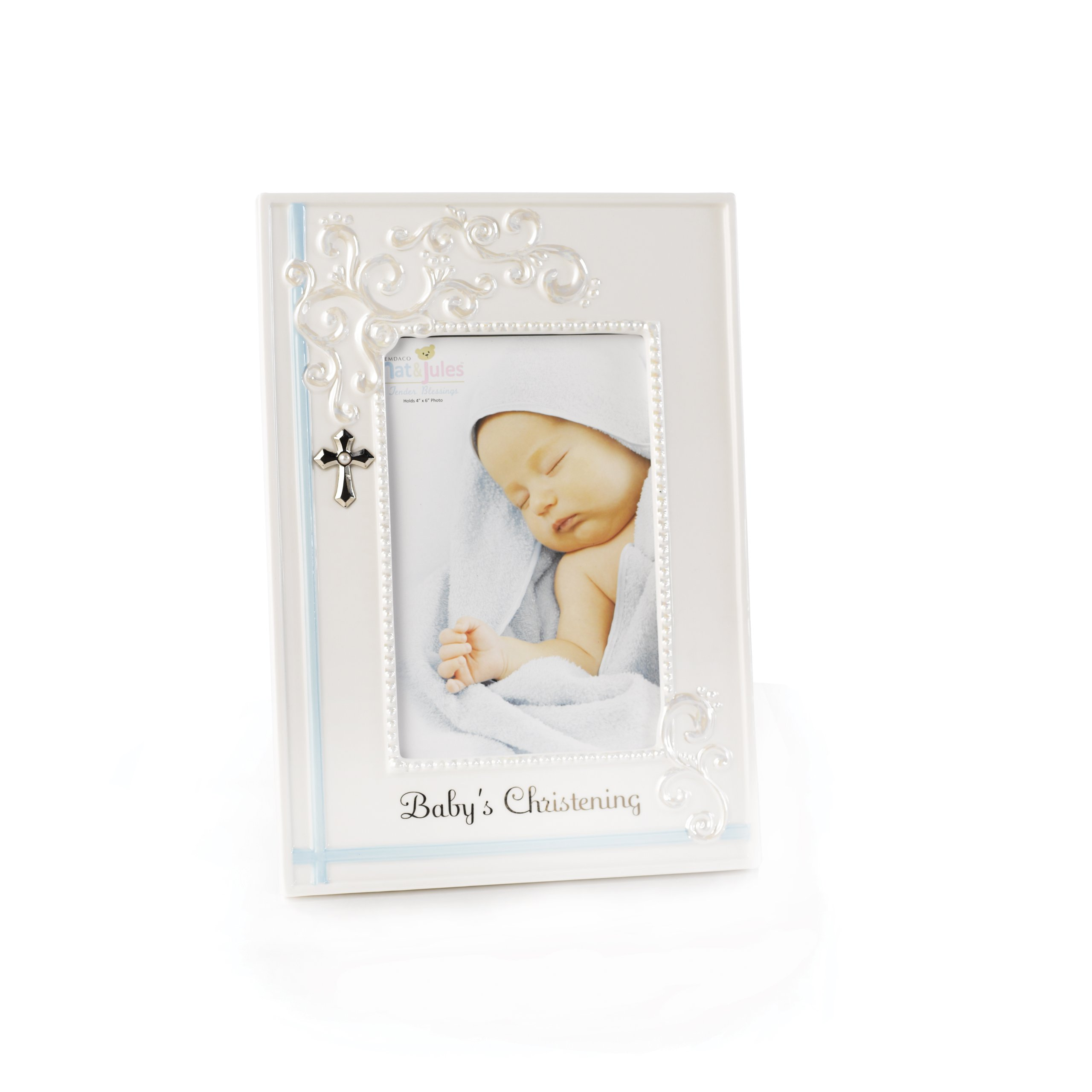 Nat and Jules Baby's Christening Frame, Blue by Nat and Jules (Image #1)