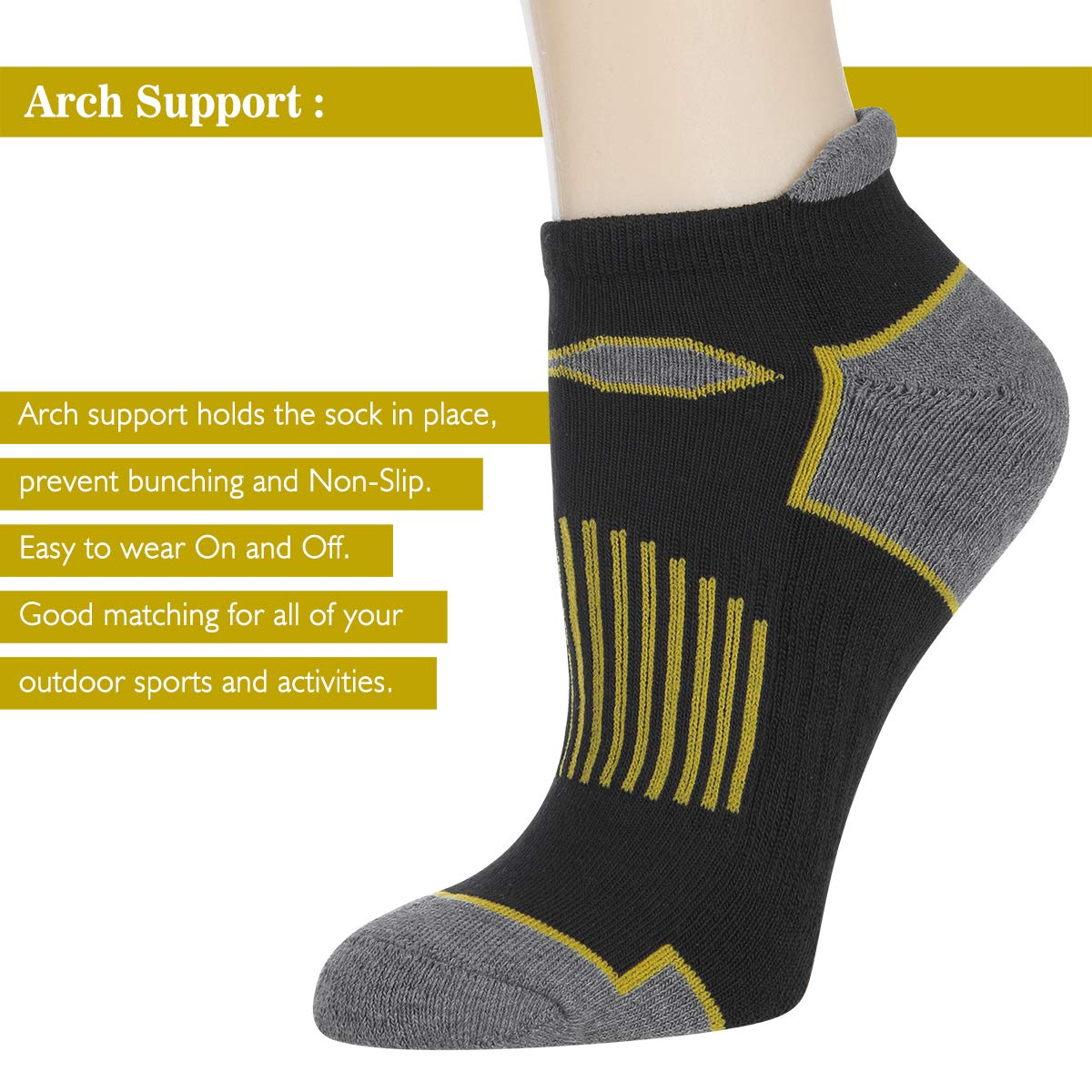 LITERRA Womens Ankle Socks Running Athletic Sport Cushion Casual With Tab 6 Pairs