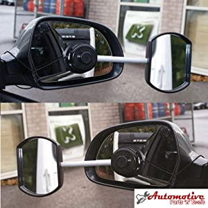 DELUXE SUCK IT AND SEE CONVEX LENS EXTENSION MIRROR TOWING CARAVAN FREE POUCH