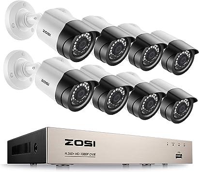 C/ámara de Vigilancia Exterior sin Disco Duro 8 ZOSI 720P Kit de C/ámaras de Seguridad 8CH Grabador DVR