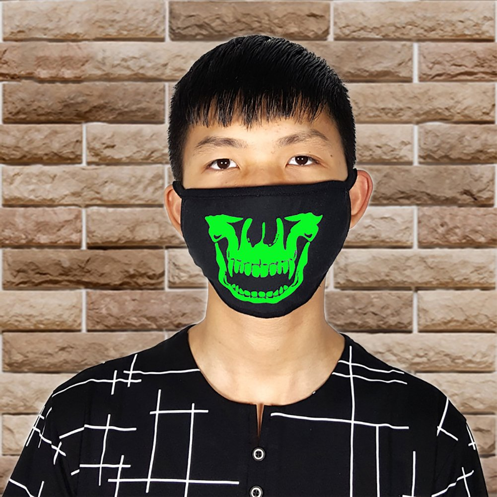 Trenton Halloween Skull Pattern Cool Luminous Unisex Cotton Blend Anti Dust Face Mouth Mask for Man Woman by TRENTON (Image #9)