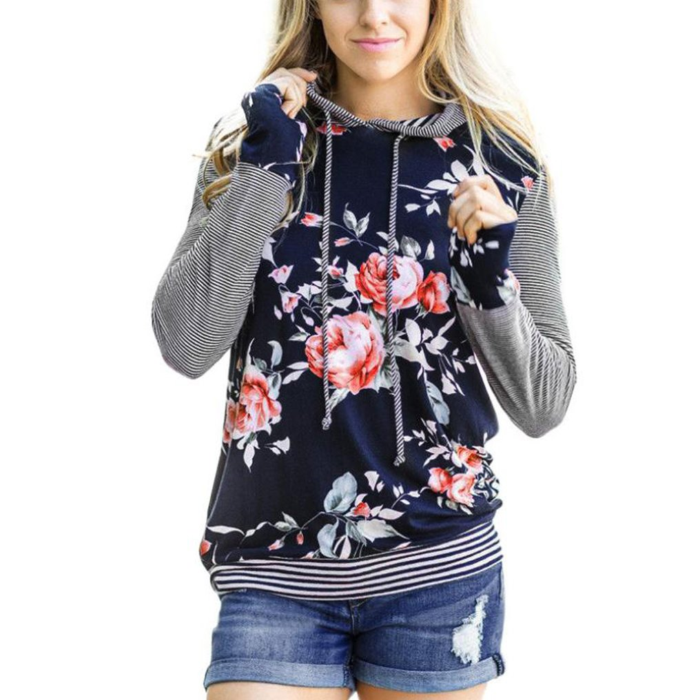 Rayas Camisetas de manga larga con capucha Sannysis sudaderas mujer largas deportiva Impresión floral Sannysis_88
