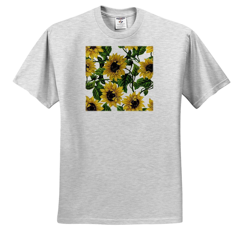 Watercolor Retro Summer Sunflower Vintage Flower Pattern 3dRose Uta Naumann Watercolor Pattern T-Shirts