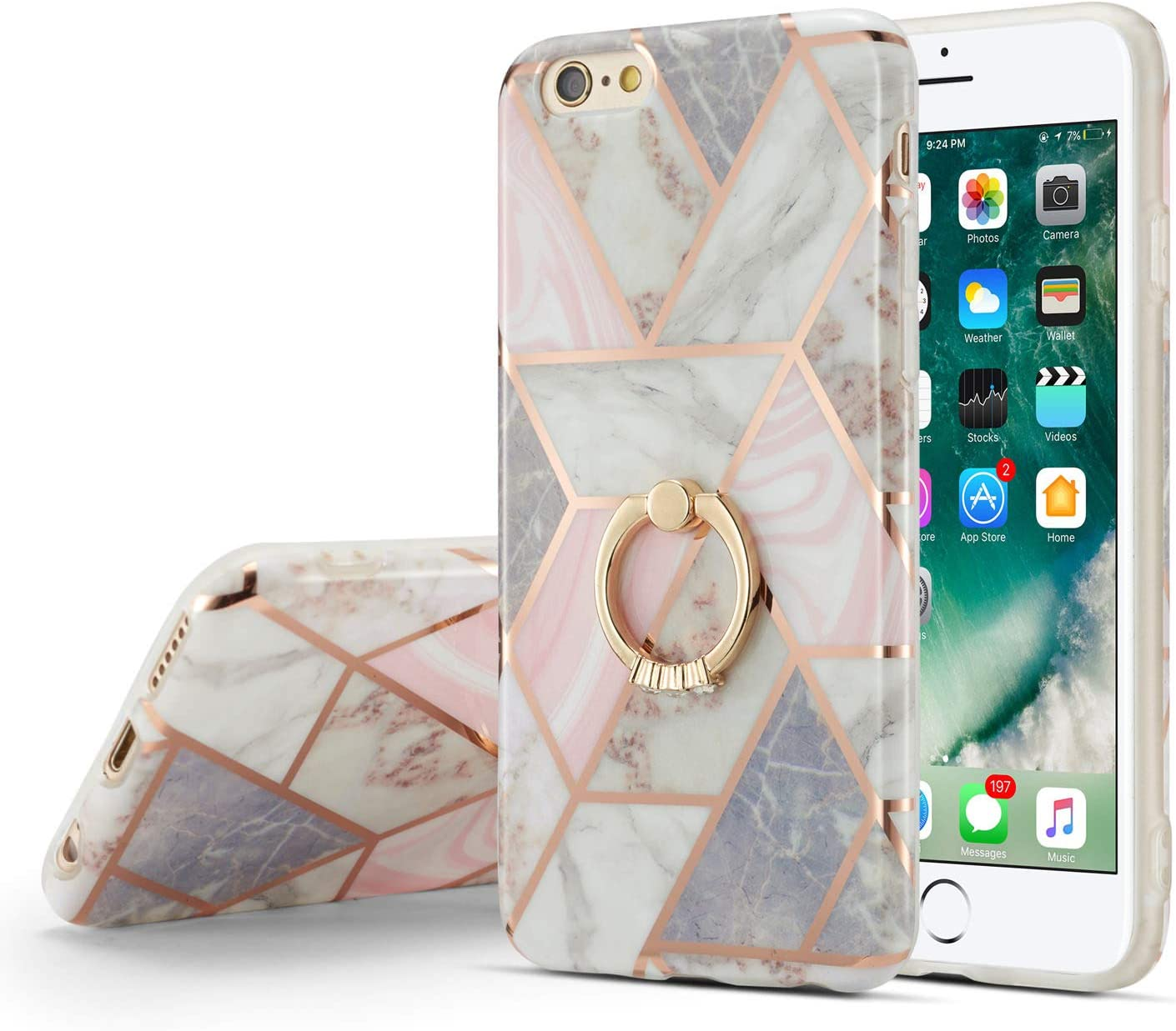 DEFBSC iPhone 6 Plus iPhone 6S Plus Marble Case with Ring Kickstand,Marble Design 360 Degree Rotating Ring Kickstand Soft TPU Shockproof Case Cover for iPhone 6 Plus/6S Plus 5.5 Inch (Marble)