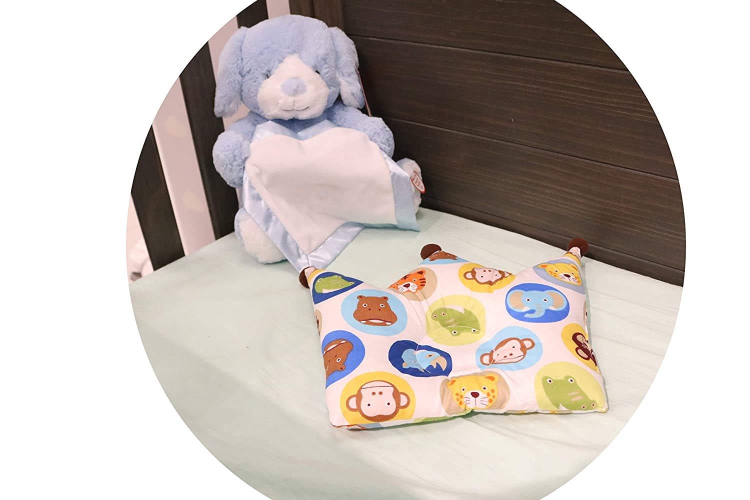 100/% Cotton Soft Blue Easy Travel Baby Head Shaping Pillow Flat Head Prevention Light Weight