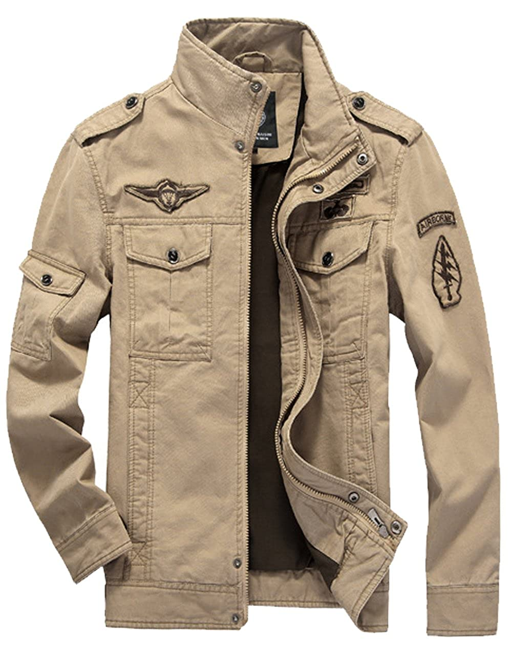 S/&S Mens Handsome Solid Embroidery Patch Stand Collar Army Jacket Coats