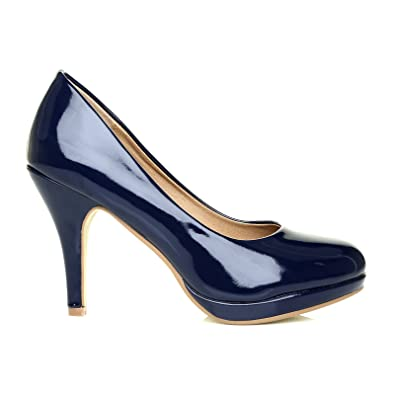 0c0463f168d CHIP Navy Patent Leather Pumps Mid-High Heel Low Platform Office Court Shoes  Size UK