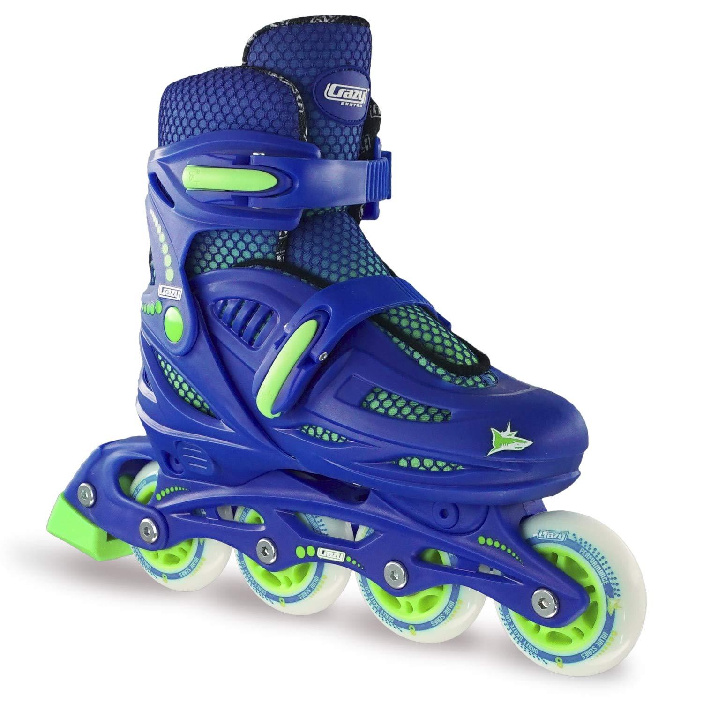 Crazy Skates Adjustable Inline Skates for Boys | Beginner Kids Roller Blades | Blue with Lime Model 148 Small (Sizes Jr11-1)