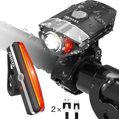 Éclairage pour vélo LED Set Hodgson USB rechargeable éclairage vélo avant 400lumens avec 10Mode lumière et r ¨ ¹ cklicht étanche IP65en noir