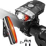 Fahrradlicht LED Set HODGSON USB Wiederaufladbare Fahrradbeleuchtung 400 Lumen mit 10 Modus Frontlicht und R¨¹cklicht IP65 Wasserdicht in Schwarz